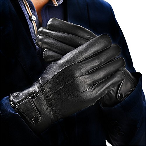 Men's Genuine Leather Warm Winter Gloves Motorcycle Full Finger Soft Sheep Skin Lined Driving Gloves By Long Keeper … (Leather)