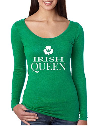 [Allntrends Women's Shirt Irish Queen St Patrick's Day Shamrock (L, Envy Green)] (St Patricks Funny Party Button)