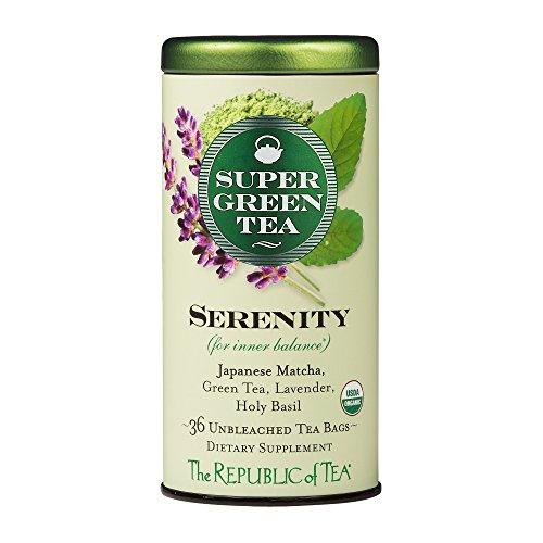 The Republic of Tea, Serenity Supergreen Tea, Matcha And Tulsi Tea Blend, Caffeinated, 36 Tea Bags
