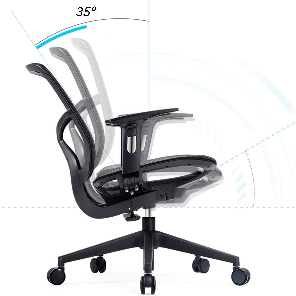 ZZHF svängbar stol, ergonomisk datorstol hushåll svängbar stol mode kontorsstol lyftstolar, ryggstöd stol (färg: Svart) Svart