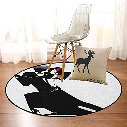 - Girls Children's Bedroom Carpet Man and Woman Partners Romantic Dance Tango Waltz Love Valentines Rhythm Music Art Soft Fluffy D47.2 Inch Black White