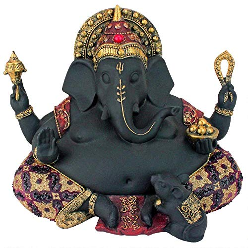 Design Toscano Sitting Lord Ganesha with Big Belly Hindu Elephant God Statue, 9 , Black Red Gold