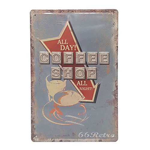 Coffee Shop All Day! All Night!, Retro Embossed Metal Tin Sign, Wall Decorative Sign (Halloween Movie Night Menu)