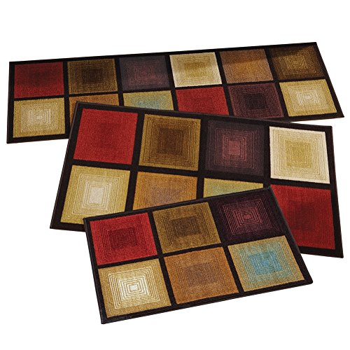 c Squares 3pc Accent Rug Set, Brown ()
