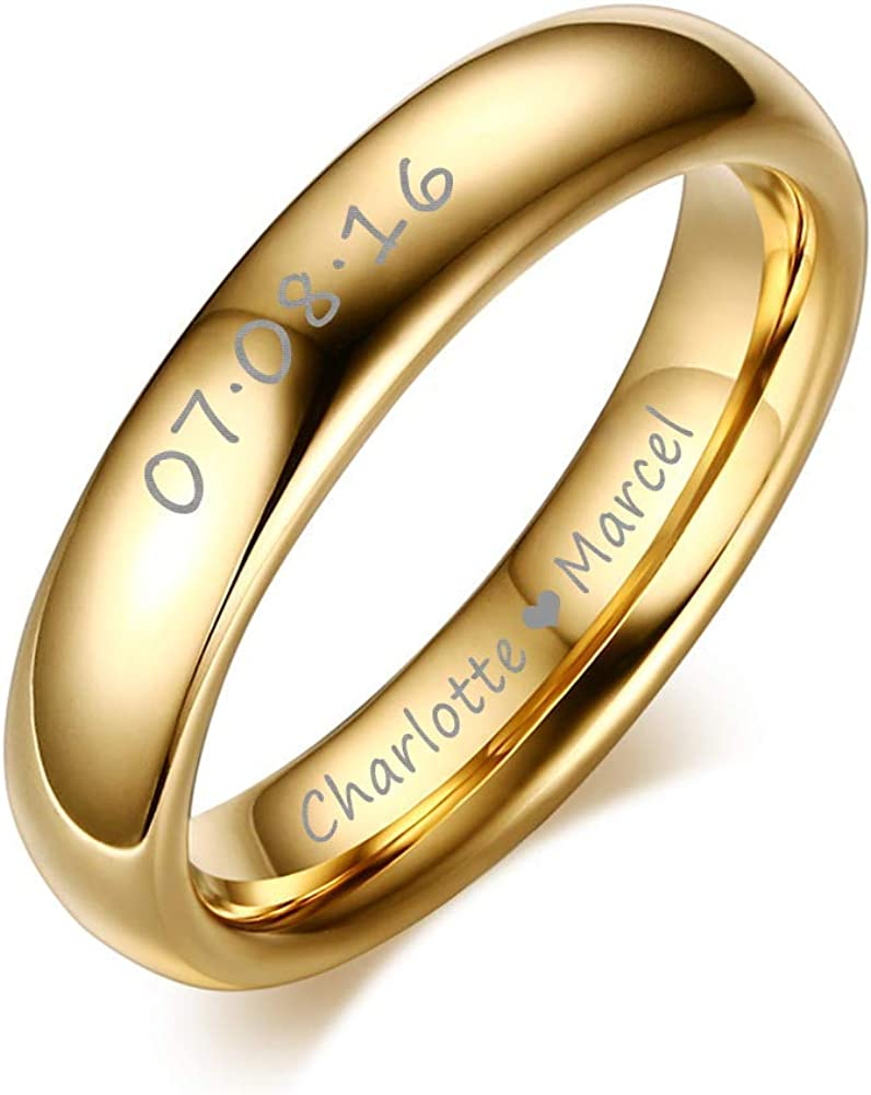 XUANPAI Custom Personalized Tungsten Carbide Domed Wedding Anniversary Matching Couple Ring Set for Lover