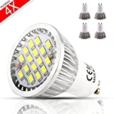 MUMENG 500LM GU10 Base 16SMD 2835 LED 6W 6500K Cool White Bulb 110V Replaces 50W Halogen 120 Degree Beam Angle for Office, Home, Recessed, Accent, Landscape, Track Lighting Pack of 4 Units