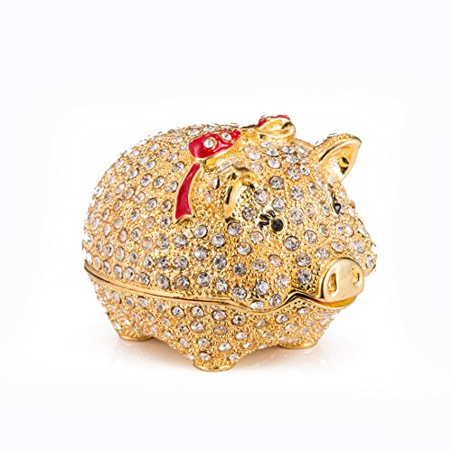 qfiu QIFU Hand Painted Enameled Cute Pig Decorative Hinged Jewelry Trinket Box Unique Gift Home Decor ()