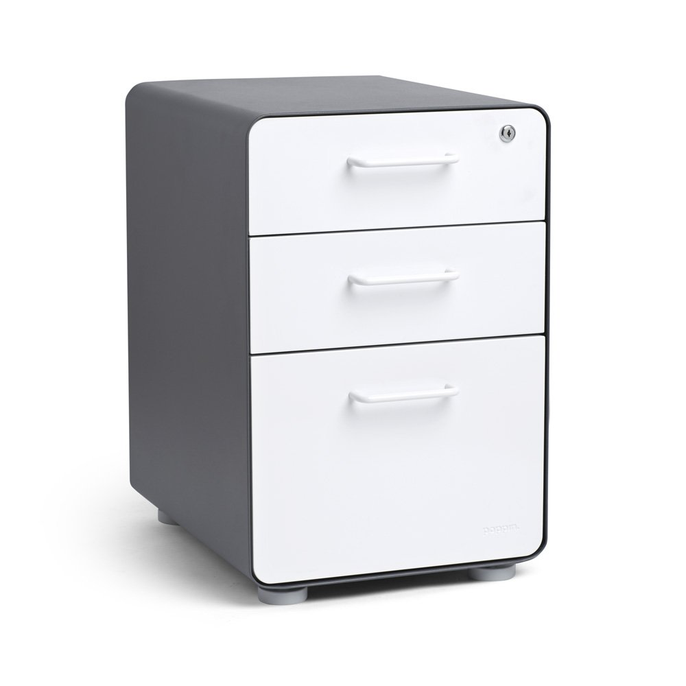 Poppin Charcoal + White Stow 3-Drawer File Cabinet