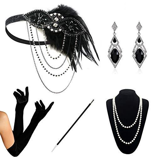 HAMIST 1920s Accessories Set Flapper Costume for Women Headband Gloves Cigarette Holder Necklace (1920Set5-5905)