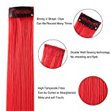 Neitsi 10pcs 18inch Colored Highlight Synthetic Clip on in Hair Extensions #F19 Red