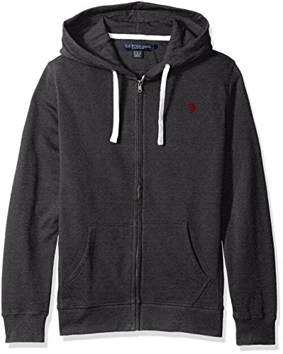 U.S. Polo Assn. Men's Slim Fit Solid French Terry Hooded Jacket, 3416-Dark Heather Grey, M
