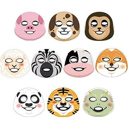 Funny Face Masks ([The Face Shop] Animal Character Mask Sheet (Variety Mask 10-Piece))