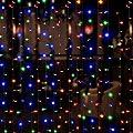Bjour BGGD-3 18W Curtain Icicle Lights String Fairy Light Warm White, 300 LEDs, 8 Lighting Modes, 9.84ft Length x 9.84ft Width