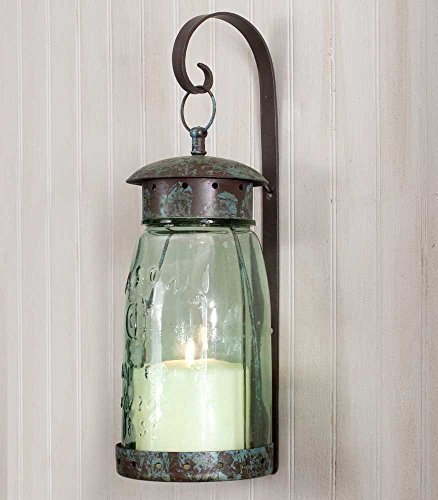 Colonial Tin Works Quart Mason Jar Hanging Wall Sconce (Christmas Centerpieces Sale Artificial)