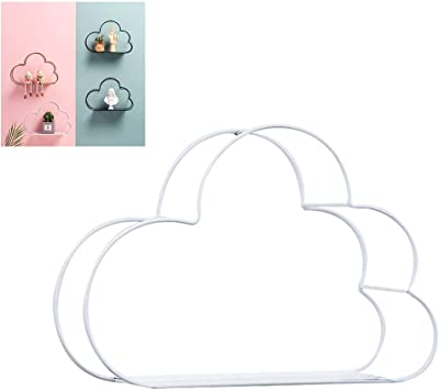 Macabolo Creativa forma de nube de metal, estante de metal, decoración de pared para el hogar, oficina, bricolaje, decoración de pared