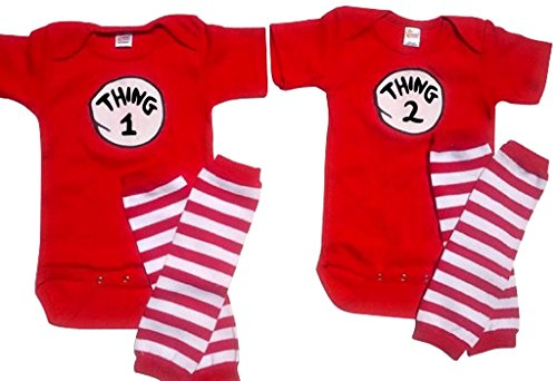 Twin 1 Twin 2 /Thing 1 Thing 2+ Leggings Perfect Pairz USA Made Outfit,6 Months (Thing 1 Thing 2 Outfits)