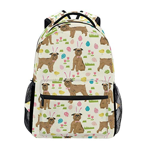 Stylish Brussels Griffon Dog Beige Backpack- Lightweight School College Travel Bags, ChunBB 16