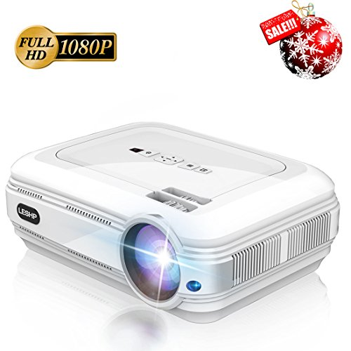 3200 Lumens Full HD 1080P Projector, LESHP Video Projector LED + LCD FOR Home Theater, 1280 x 1920 max resolution Contrast 3000:1, Support 1080P / USB / VGA / SD / HDMI for Xbox / iPhone / Smartphone by LESHP