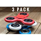 TRIPLE PLAY 3 PACK Fast Spin Tri Spinner Spinning Fidget Toy for Stress Relief, ADD, ADHD