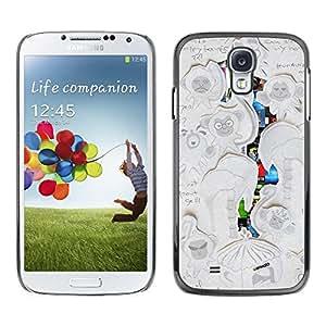 Caucho caso de Shell duro de la cubierta de accesorios de protección BY RAYDREAMMM - Samsung Galaxy S4 I9500 - Childrens Artwork Drawing Monkey Writing
