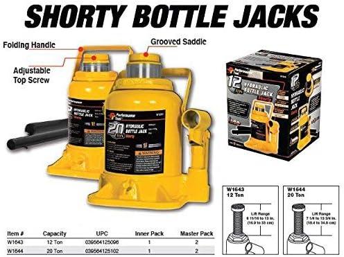 Performance Tool Wilmar W1643 12-Ton Lift Range: 6-5//8 to 13 Heavy Duty Shorty Hydraulic Bottle Jack Renewed 24,000 lbs.