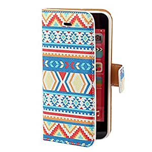 Aztec Colorful Stripe Pattern PU Full Body Case with Card Slot and Stand for iPhone 5C