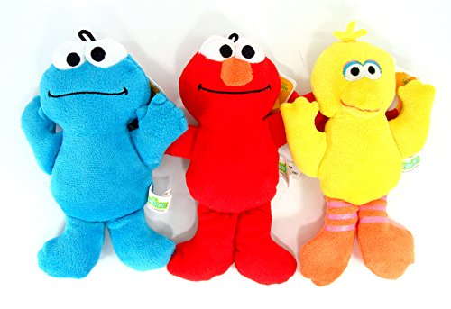 Sesame Street Beanie Plush - 3 Pcs Set - Includes Elmo, Big Bird, and Cookie Monster (Sesame Street Stuffed Animals)