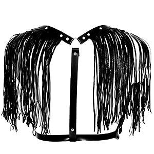 BBOHSS Women's PU Leather Adjustable Body Chest Harness Belt with Shoulder Tassel
