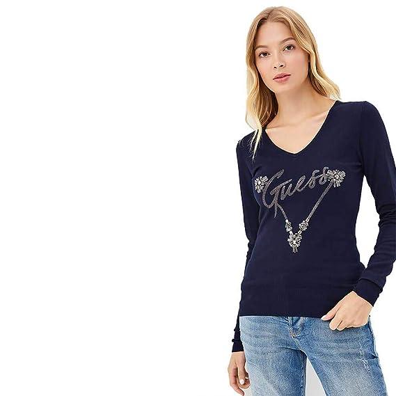 65b67415c4b5 Guess Jersey Women Blue TG S: Amazon.co.uk: Clothing