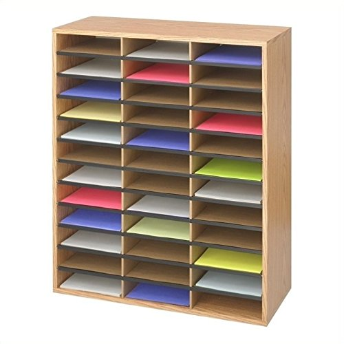 36 Sorter Mail Compartment - Safco Products Wood/Corrugated Literature Organizer, 36 Compartment 9403, Economical Organization, Letter-Size Compartments