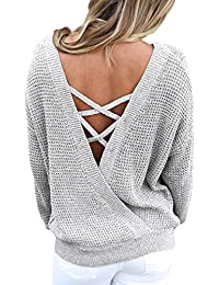 35f9bbc7bfad9 Women s Long Sleeve Criss Cross Backless Casual Loose Knit Pullover Sweaters  S-XL