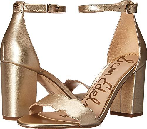 (Sam Edelman Women's Odila Ankle Strap Sandal Heel Molten Gold Soft Metallic Sheep Leather 4.5 M US)