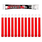 Be Ready Red Glow Sticks - Industrial Grade 12 hour Illumination Emergency Safety Chemical Light Glow Sticks