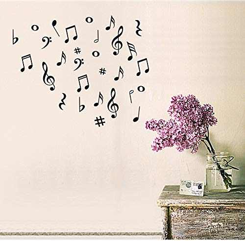 - Fymural Musical Note Wall Decals Music Sign Letter Wall Stickers Quote Removable Vinyl for Kid Baby Nursery Classroom DIY Decoration Home Decor,Black