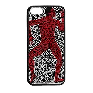 iPhone 5 Case, [Keith Haring] iPhone 5,5s Case Custom Durable Case Cover for iPhone5 TPU case(Laser Technology)