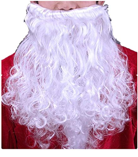 Deluxe Santas Helper - Deluxe Santa Claus Red Santas Helper Costume Adult Outfit Plus Size (Beard, Santa Beard)