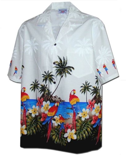 Pacific Legend Men's Parrot Island Hawaiian Shirt White 2X