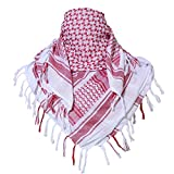 TACVASEN Men's Tactical Desert Soft Comfy Shemagh Keffiyeh Arab Tessel Scarf Wrap Pink