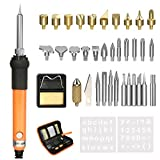 GOCHANGE 37Pcs Wood Burning & Soldering Iron Kit, Incl Adjustable Temperature Soldering Iron Pen, 15 x Wood Buring Tips, 16 x Soldering Tips, 2 x Stencil, Converter, Stand and Carring Bag