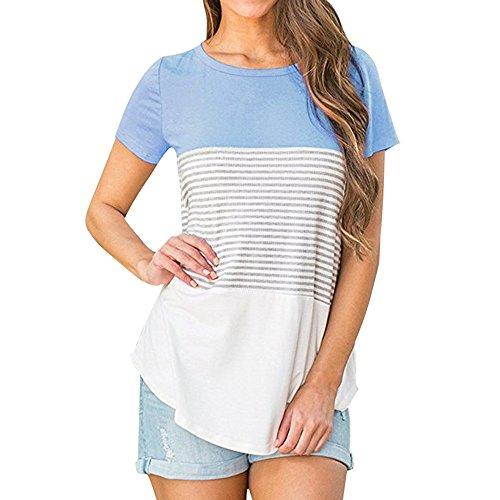 KIKOY Summer Women's Short Sleeve O Neck Triple Color Block Stripe Casual Blouse Blue