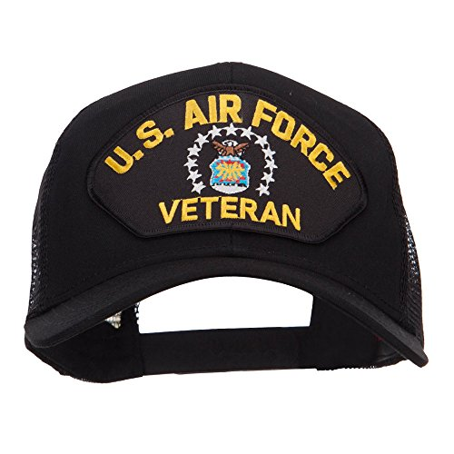 (e4Hats.com US Air Force Veteran Military Patched Mesh Cap - Black OSFM)
