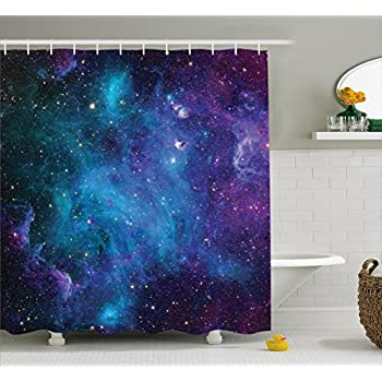 Fabric shower curtain nature artwork decor by for Space themed fabric