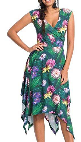 Jaycargogo Womens Sans Manches À Rayures Irrégulières Floral Robes V-cou Vert