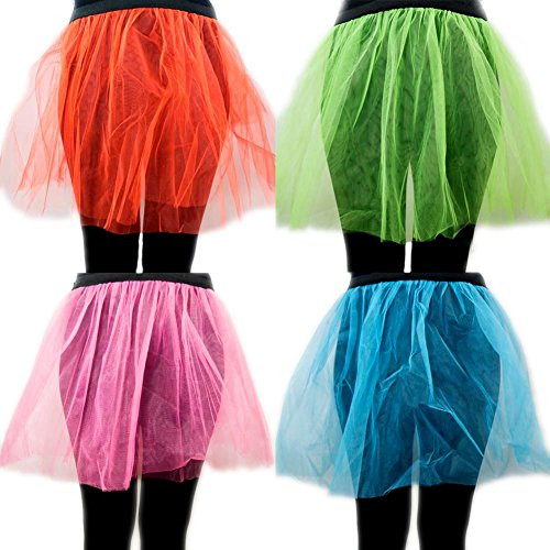 Retro 80s Colorful Neon Assorted Color Tu Tu Tutu Skirt 4 Pack Costume Accessory ()