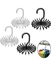 CoWalkers Colgador para Corbatas y Cinturones,4 Pack Neck Tie Rack Hanger Holder Organizadores de armario de gancho, 360 grados giratorios ganchos ajustables