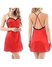 Yulee Women's Sexy Satin Chemises Slip Camisole Nightgown Sleepwear S-XXL