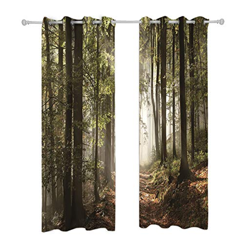 Forest Bedroom - Riyidecor Blackout Forest Tree Curtains Country Nature Rural Village Pathway Mountains Wilderness Scene Autumnal Living Room Bedroom Window Drapes Treatment Fabric (2 Panels 52 x 84 Inch)