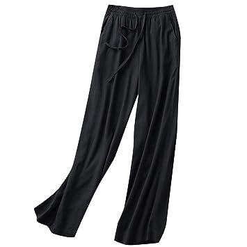 Amazon.com: Pantalones de algodón y lino con cordón en la ...