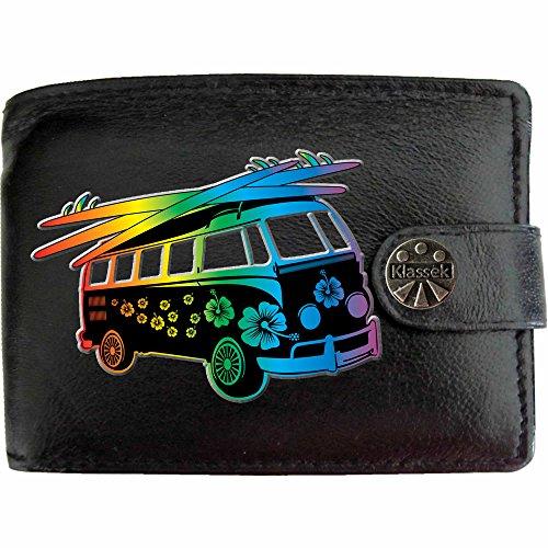 Surfbrett Blume T1 VW Camper Klassek Herren Geldbörse Portemonnaie Brieftasche aus echtem Leder schwarz Volkswagon Wohnmobil Zubehör