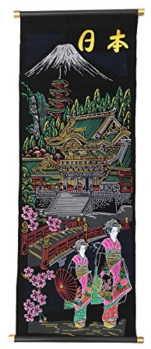 Retro Velvet Wall Scroll with Japanese Lady Design CKS8 Blossom Scroll Wall Art